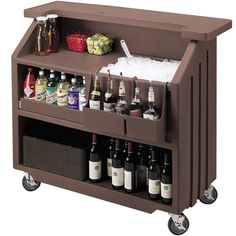 "Wish List - Cambro BAR540131 Dark Brown Cambar 54"" Portable Bar with 5-Bottle Speed Rail - A recessed work area prevents spillage and provides plenty of room for drink preparation, while its deep ice sink holds up to 80 lbs. of ice to minimize downtime while retrieving more ice!"