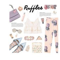 """Ruffle Top"" by nediam ❤ liked on Polyvore featuring MANGO, Miu Miu, Christian Dior, BaubleBar, Anja, Lancôme, Miss Selfridge, Josie Maran, Laura Mercier and LARISSA HADJIO"
