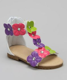24287bda2 Chatties White   Pink Floral Ankle-Strap Sandal. Flower Girl ...