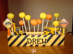 Construction cake pop display for a little boy's birthday.