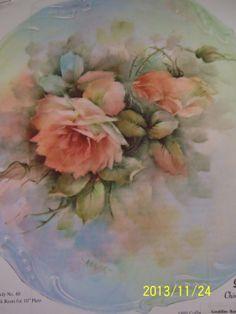 "China Painting Study 40 ""Pink Roses"" Geraldine Rarick Oversize | eBay"