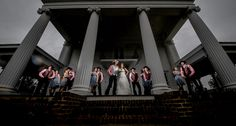 Matt Shumate Photography - wedding party portrait flash composite mansion georgia plantation pillars dramatic