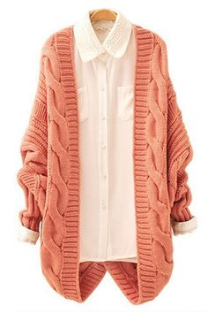 Twisted Pattern Batwing Sleeve Cardigan OASAP.com