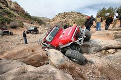 Tony squeezing through with the GenRight YJ at Easter Jeep Safari! #jeep #jeeping #wheeling #offroad #offroading #genright #moab #easterjeep safari #ejs #ejs2013