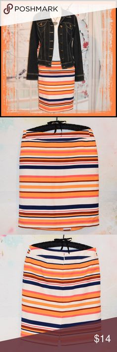 Fabulous MERONA Skirt This skirt styles well with a variety of multi seasonal pieces with its bold stripes in fabulous colors! It measures 20 inches in length with a 32 inch waist. It's very well constructed with nice even stitching. She is just fabulous and you will love her! My ID and short-link for this piece: www.consigning.fun/1kmat8228 MERONA Skirts