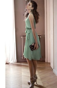 Sleeveless Chiffon Vintage Style Dress Green