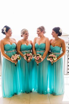 ❤ www.alexnshawncaple.com ❤ www.sweetstart.com ❤ Gorgeous Bridesmaids in Aqua/tiffany blue Dresses: David's Bridal Him: Ralph Lauren; Her: Ravit Designs Swarvoski, Hawaii, wedding dress, light blue suit, tropical