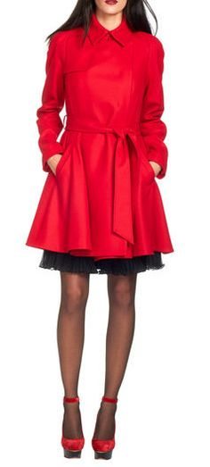 I like the coat, though I think it should be at least a little bit longer. Not too fond of the black dress showing beneath it.  Red Trench Coat