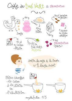 Miam ! Cake au thé vert et framboises  Yummy! Matcha & rasperries cake mzelle-fraise.fr