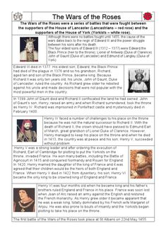 The War of the Roses Study Guide Worksheet | Lesson Planet
