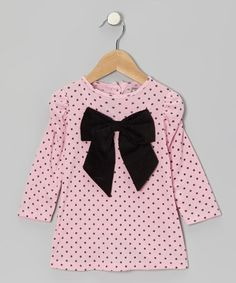 Take a look at this Pink Polka Dot Bow Tunic - Infant & Toddler by Petit Confection on #zulily today!