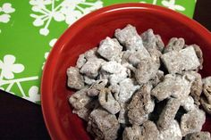 """""""Vegan Puppy Chow"""" AKA - chocolaty-pb chex cereal goodness!  Ugg, this is going to be my ruin! So many pieces... hard. to. stop. nibbling... all those little nibblets at the bottom of the bowl... Yum!"""
