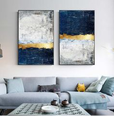 """Modern Golden Wall Art Picture Abstract Gold Foil Block Painting Blue Poster Print for Living Room Navy Decor Big Size Tableaux"" Living Room Pictures, Wall Art Pictures, Abstract Pictures, Images D'art, Golden Wall, Block Painting, Painting Prints, Gold Canvas, Diy Canvas"