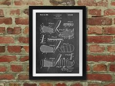 Golf Club Patent Print - PatentPrints Technical Drawings -  Prints of old filed US patent drawings. Printed on matte cardstock, each one looks authentic while being appropriate for any home or office wall. Get one for the man in your life. Great Fathers Day present. Starting at $19.95 for 16 x 20 inch and 12 to choose from. Get a $10 credit with your first purchase. Golf, Bicycle, Car Engine, Lego building blocks (Lego's), Camera, Transmission, Apple Computer, Kitchen Aid Mixer, Harley…