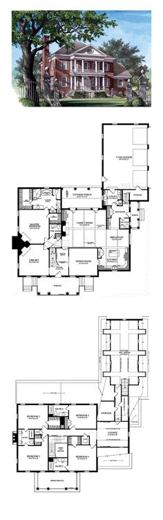Plantation House Plan 86125   Total Living Area: 4465 sq. ft., 5 bedrooms, 4 full bathrooms and 2 half baths. #plantationhome