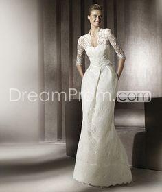Brilliant Sheath Floor-Length Lace Wedding Dresses with Half-Sleeve Jacket  2012 Spring Trends