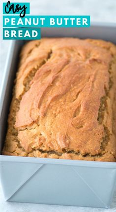 This 1 hour peanut butter quick bread is easy to make with 10 common ingredients! add chocolate chips for a delicious no yeast peanut butter bread peanutbutterbread bread noyeastbread quickbread chickpea noodle soup Peanut Butter Bread, Peanut Butter Recipes, Homemade Peanut Butter, Homemade Snickers, Quick Bread Recipes, Sweet Recipes, Breakfast Bread Recipes, Vegan Recipes, Art Du Pain