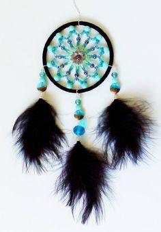 4 inch full beaded Dream Catcher - handmade with black suede, all glass beads and black marabou feathers :)  You can find all my designs at https://www.facebook.com/pages/Dreamscape/471890606282556