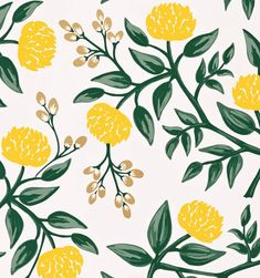 Peonies (Yellow) Metallic Screen Printed