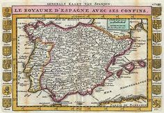 Kingdom of Spain and its borders, 1706. This map depicts the entirety of Iberia including the Balearic Islands, parts of France, and northern Africa. Surrounded on either side by the armorial crests of 16 Spanish regions. This is Paul de la Feuille's 1747 reissue of his father Daniel's 1706 map.