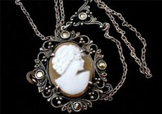 Antique Cameo Macasite Lavalier Necklace Sterling Silver Carved Shell Art Deco | eBay