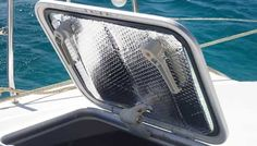 Keep your boat far cooler by putting these shades over the sunniest non-opening windows. Easy DIY project!