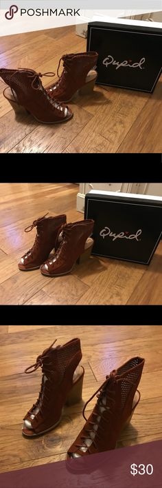 """NIB Qupid bootie heels THE PERFECT SUMMERY ALTERNATIVE BOOTIE HEELS FOR DAY OR NIGHT. SUPER STYLISH AND COMPLETELY VERSATILE!  MATERIAL: MAN-MADE, LEATHERETTE  SOLE: SYNTHETIC  MEASUREMENT: HEEL HEIGHT: 4"""" (APPROX.)  FITTING: TRUE TO SIZE Qupid Shoes"""