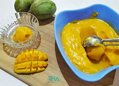 Mango Sorbet is the best way to cool down yourself on a hot summer day. It's creamy & refreshing; plus in a blender you can make mango sorbet in 5 min using 3 simple ingredients. Mango Sorbet, Summer Treats, Canning, Fruit, Simple, Hot, Desserts, Tailgate Desserts, Deserts