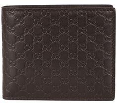 NEW Gucci Men's 260987 Brown Leather MICRO GG Guccissima Bifold Wallet #Gucci #Bifold