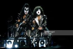 Gene Simmons and Paul Stanley of Kiss perform on stage at the Telstra Dome on 28th February 2003 in Melbourne, Australia.
