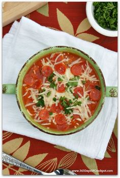 Slow Cooker Pepperoni Pizza Soup