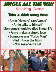 You may hate Booster, but you'll love this game. 10 Christmas Movie Drinking Games You'll Want To Play This Year Christmas Drinking Games, Movie Drinking Games, Christmas Party Games, Christmas Drinks, Christmas Activities, Christmas Traditions, Slumber Party Games, Adult Party Games, Carnival Birthday Parties