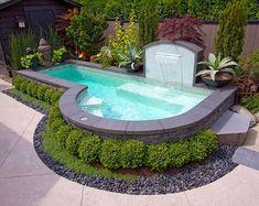 Small Inground Pool Ideas : Inground Pool Designs For Small Backyards. Inground pool designs for small backyards. Inground Pool Designs, Backyard Pool Designs, Swimming Pool Designs, Backyard Ideas, Backyard Retreat, Backyard Projects, Small Inground Pool, Garden Ideas, Fence Ideas
