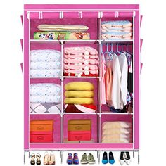 Homdox 67inch Portable Wardrobe MetalFabric Closet Organizer Storage with Cover and Side Pockets and Clothes Rods Durable Sturdy Tire Shelves Pink ** Read more reviews of the product by visiting the link on the image.
