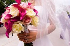 pretty yellow and pink wedding bouquet