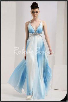 Robe de soiree bleue et blanche