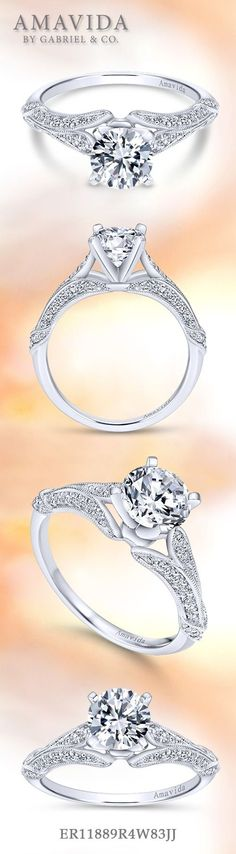 Gabriel & Co.-Voted #1 Most Preferred Fine Jewelry and Bridal Brand. Vintage 18k White Gold Round Split Shank  Engagement Ring