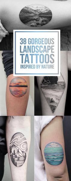 Tattoos: 38 Gorgeous Landscape Tattoo Designs Inspired by N. Trendy Tattoos, Black Tattoos, Tattoos For Guys, Cool Tattoos, Awesome Tattoos, Forearm Tattoo Design, Forearm Tattoos, Sleeve Tattoos, Ankle Tattoo