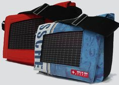 Solar bags, recharge all ur gadgets while out & about. Great idea
