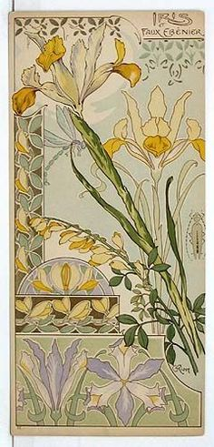 51 Ideas for art nouveau flowers alphonse mucha irises Motifs Art Nouveau, Azulejos Art Nouveau, Design Art Nouveau, Art Design, Alphonse Mucha, Flores Art Nouveau, Art Nouveau Flowers, Art And Illustration, Floral Illustrations