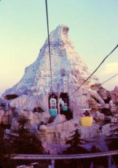 The old trams through the Matterhorn at Disneyland.