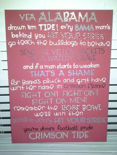 Vinyl letters University of Alabama fight song