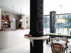 Great Idea for Interior Columns bella-illusione: Café Toscano, Colonia Restaurant Interior Design, Commercial Interior Design, Cafe Interior, Restaurant Interiors, Interior Columns, Bar Restaurant, Basement Inspiration, Column Design, Vintage Cafe