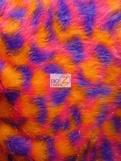 FAUX FAKE FUR 3 TONE RAINBOW SHINY TINSEL LONG PILE FABRIC Orange/Fuchsia/Purple #BIGZFABRIC