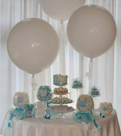 balloons behind candy table
