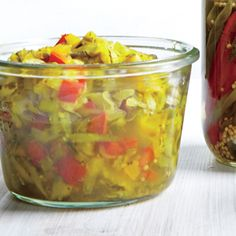 Zucchini and Bell Pepper Relish - chill this relish of zucchini, sweet onion, and bell peppers for up to 1 month. Bell Pepper Relish Recipe, Hot Dog Relish Recipe, Relish Sauce, Relish Recipes, Canning Recipes, Sauce Recipes, Cooking Light Recipes, Easy Cooking, Homemade Mustard