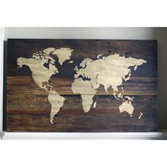 Rustic World Map Wood Sign with Upgrade by HammerandLaceinc