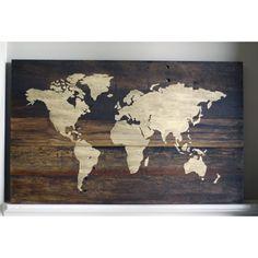 Rustic World Map Wood Sign by HammerandLaceinc on Etsy