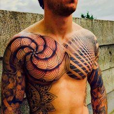Best Geometric Tattoos And Symbolism Head Tattoos, Badass Tattoos, Life Tattoos, Body Art Tattoos, Tattoos For Guys, Sleeve Tattoos, Geometric Tattoo Chest, Geometric Tattoos Men, Unique Tattoos
