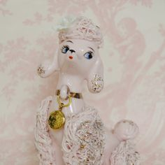 Vintage Pink Poodle Figurine with Locket by NevermoreVintage, $18.00